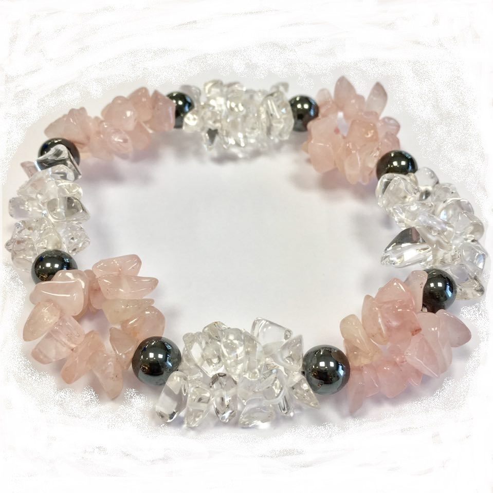08194f85224 Käevõru minikristallid Roosa kvarts + mäekristall + hematiit (1379)