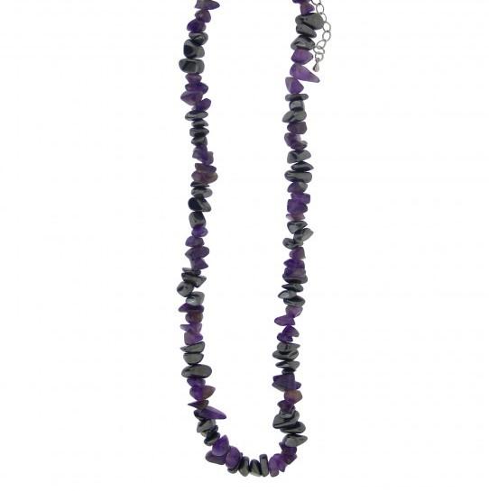 Kaelakee – Hematiit + Ametüst tsipsid, ca. 44-48 cm (2369)