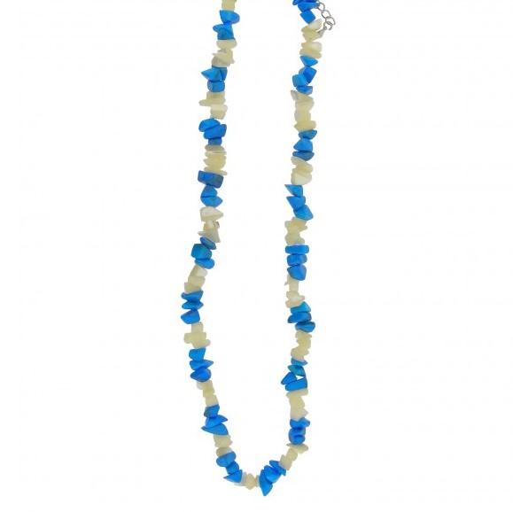 Kaelakee – Magnesiit türkiis + pärlmutter teok. tsipsid, ca. 44-48 cm (2370)
