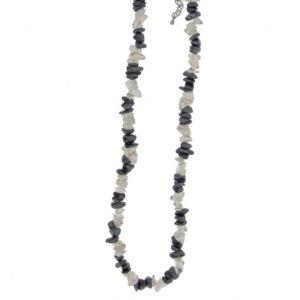 Kaelakee - Mäekristall + Hematiit tsipsid, ca. 44-48 cm (2368)