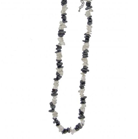 Kaelakee – Mäekristall + Hematiit tsipsid, ca. 44-48 cm (2368)