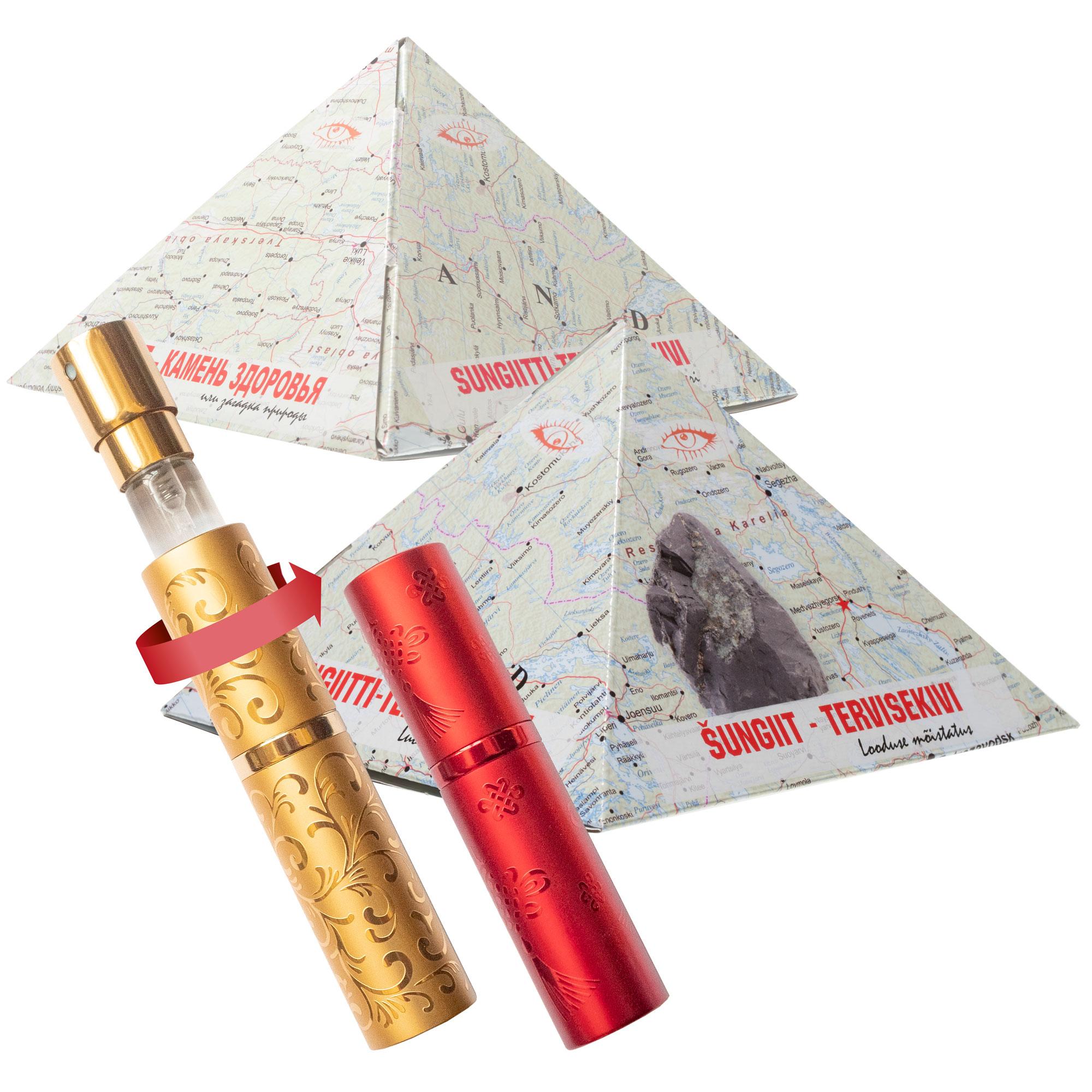Šungiit püramiidid karbis, kingitusega1
