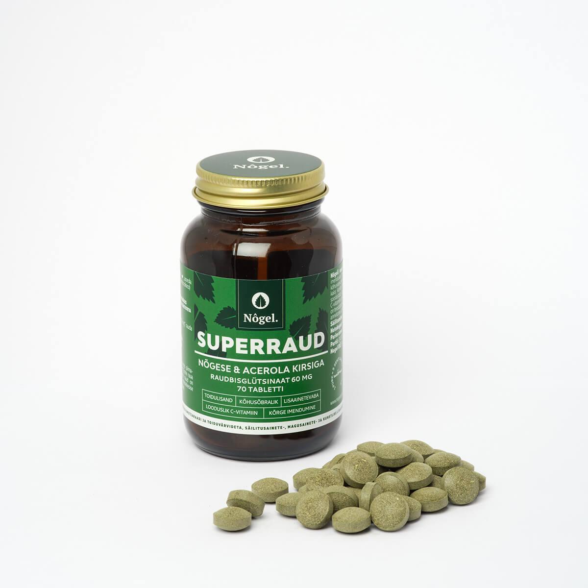 Nõgel Superraud nõgese ja acerola kirsiga, 70 tabletti (2723)