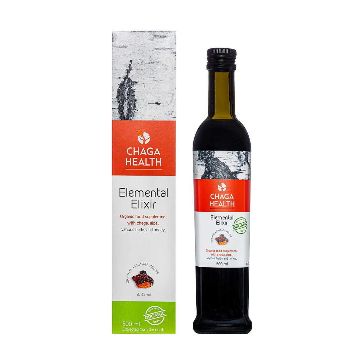 CHAGA Elemental Elixir, 500ml ÖKO